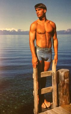 GIANNI VERSACE JEANS COUTURE Autumn Winter 1994/95 featuring JEFF MONROE photographed by BRUCE WEBER at Lake Tahoe, California