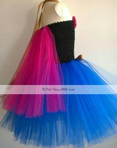 Anna Princess Kleid Tutu Kleid Outfit, Geburtstag, Dress spielen, Prinzessin Kostüm, Tanz Kleid, Festzug Kleid oder sehr schöne Prinzessin Halloween-Kostüm besteht aus hochwertigem königlichen und Fuchsia Tüll mit Band und Fuchsie schäbig Akzente. Perfekt für jede kleine Prinzessin auf