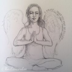 """One week ago, I started a drawing challenge. Here's Daily Angel # 5. ""I pray...that you may be filled."" #angel  #blessed"""