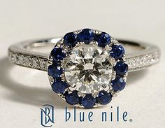 Halo Sapphire and Diamond Engagement Ring in 18k White Gold #BlueNile