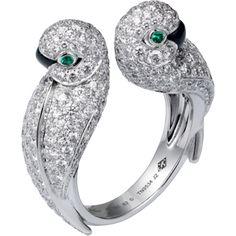 Cartier. Fauna & flora. White gold, diamond, emerald & onyx lovebirds ring...♡