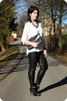 Outfit: White blouse, black faux leather pants and laser-cut peeptoes