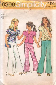 Vintage 70s Sewing Pattern Girl's Puff Sleeve Top and Bell Bottoms by HoneymoonBus, $7.99
