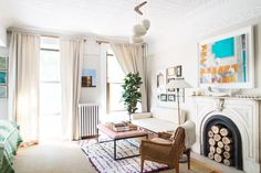 ALL WHITE!! How to Get That Cool Brooklyn Brownstone Style at Home via @MyDomaine