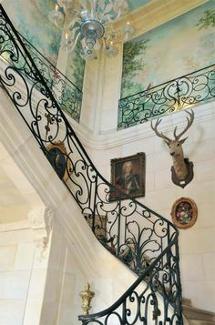 The beautiful staircase at Vendeuvre Chateau in Normandy France..