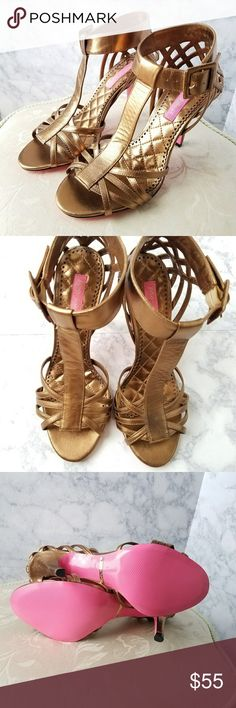 """NWOB Betsey Johnson Broze Lattice Heels Gorgeous bronze metallic heels from Betsey Johnson. Detailed lattice straps woven at the heel and across the foot.  Very slight mark on the back of the right shoe.  Unnoticeable unless you are really looking for it. 4"""" heel. Betsey Johnson Shoes Heels"""