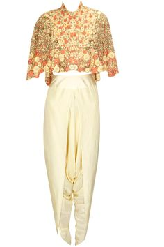 Patel yellow floral embroidered jacket with dhoti pants available only at Pernia's Pop Up Shop.