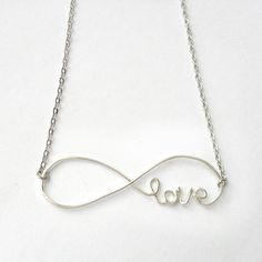 Infinity Love Necklace - Infinite Love Necklace, Cursive Love Necklace, Infinity Jewelry  - 'Forever'