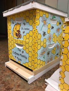 Painted Bee Box Painted Bee Hive Painted Box Bees Daisy Winnie The Pooh Honey Beehive Beehives Bee Hives Boxes, Bee Boxes, Hives And Honey, Honey Bees, Honey Bee Box, Langstroth Hive, Winnie The Pooh Honey, Bee Hive Plans, Birdhouse Designs