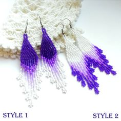 Beaded earrings White earrings Violet earrings Dangle by Galiga