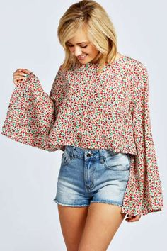 15492d7641 Alexis Floral Wide Sleeve Crop Blouse at boohoo.com Crop Blouse