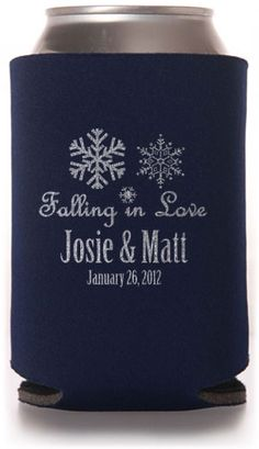 Winter Wedding Can Coolers #winter #koozies