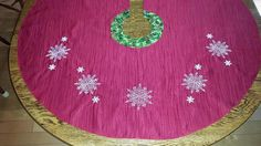 Items similar to Christmas Tree Skirt Embroidered with Snowflakes on Etsy Tree Skirts, Snowflakes, Christmas Tree, Closure, Embroidery, Holiday Decor, Cotton, Handmade, Etsy