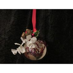 Handcrafted Red Gem with Pine Cones Silver Glass Ball Ornament Handcrafted Christmas Ornaments, Handmade Christmas, Fabric Ornaments, Ball Ornaments, Red Gemstones, Glass Ball, Pine Cones, Holiday Decor, Silver