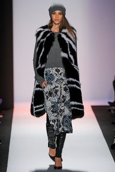BCBG Fall 2013 - Build it: fur vest over sweater over tunic over boots
