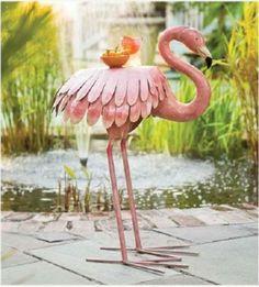 Pink Metal Flamingo Table Patio Lawn Decor Garden Outdoor Furniture GOOSE Bird
