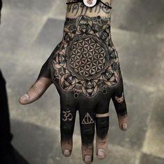 Mandala hand tattoos Mandala tattoo design Geometric tattoo hand Tattoos Hand tattoos Maching tattoos - a list with 50 of the most beautiful mandala tattoo designs weve seen and the symbolism be - s Mandala Tattoo Design, Dotwork Tattoo Mandala, Mandala Hand Tattoos, Henna Tattoo Designs, Unique Tattoos For Men, Hand Tattoos For Guys, Finger Tattoos, Full Hand Tattoo, Hand Tats