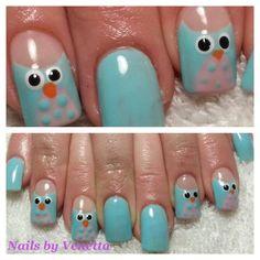 Blue Owl Design, Gel Polish on Acrylic Nails, Nail Art