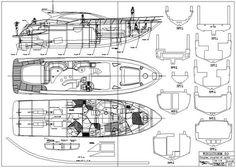 Plans en ligne / on line plans Yacht Design, Boat Design, Model Boat Plans, Concept Ships, Pontoon Boat, Small Boats, Technical Drawing, Model Ships, Boat Building