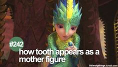 "242 ""How Tooth appears as a mother figure."" #littlerotgthings #rotg #riseoftheguardians"