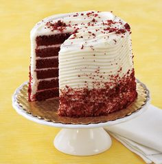 H-E-B's new Gourmet Cakes: Six moist layers of red chocolate cake covered with our fresh cream cheese icing