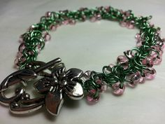 Spring Green and Pink Shaggy Beaded by WyndstarCreations on Etsy, $20.00