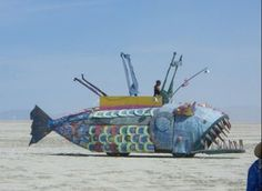Burning Man, an annual art event in the Nevada dessert. One of the many cool things about Burning Man are the amazing vehicles that people create to get around in. Each vehicle is lovingly crafted by hand.