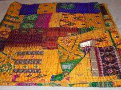 Vintage Patola Silk Sari Kantha Quilt Patchwork Throw Gudari Bedspread Blanket #Handmade