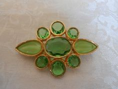 Stunning Vintage Lime Green Crystal & Givre by OnTheMarkVintage, $24.00