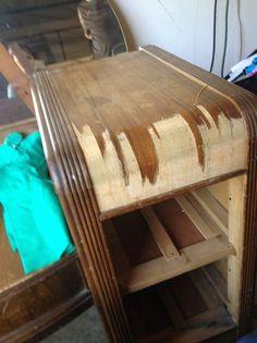staining wood vanity vintage renew, painted furniture, Removing the veneer