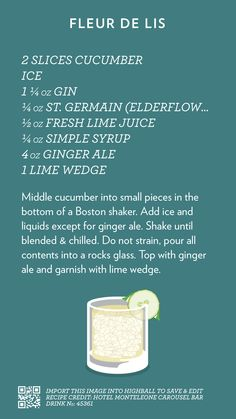 Fleur De Lis, created with Highball. Cocktails To Try, Fancy Drinks, Craft Cocktails, Summer Drinks, Refreshing Drinks, Drink Bar, Cocktail Menu, Cocktail Recipes, Alcoholic Drinks