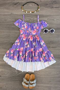 Purple Floral Cold Shoulder Dress Purple Outfits, Girl Outfits, Cute Outfits, Girls Boutique, Boutique Clothing, Red Chicken, Crochet Ruffle, Cute Baby Clothes, Toddler Outfits
