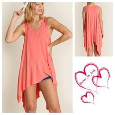 COMING SOON! Stay Sleeveless High Low Tunic Small Stay Sleeveless High Low Tunic*You are one smooth fashionista if you're eyeing this popular tunic  Fabric: RAYON BLEND color is coral No Trades ✅ Offers Considered*✅ *Please use the blue 'offer' button to submit an offer. Tops