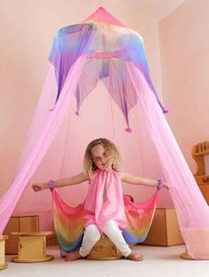 Sarah's Silks Play Canopy: Hang up this ringed canopy of silk for an instant fairy tent or princess tent. Canopy Tent, Canopies, Garden Canopy, Magical Home, Cute Blankets, Waldorf Toys, Waldorf Playroom, Natural Toys, Big Girl Rooms