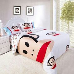 White Paul Frank Bedding- if only jay would go for this! Paul Frank, Hello Kitty Rooms, Best Bed Sheets, Monkey 3, Mini Office, Cool Items, Soft Furnishings, To My Daughter, Sweet Home