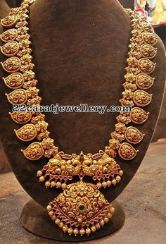 Floral Peacock Nakshi Long Chain - Jewellery Designs