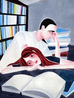 Man and woman in library