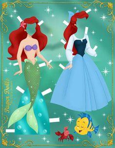 Ariel Paper Dolls