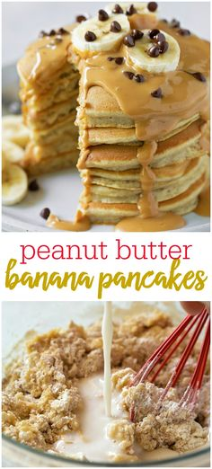 Peanut Butter Banana Pancake These delicious and fluffy banana pancakes are topped with melted peanut butter, bananas and chocolate chips making them irresistible. Omit the bananas, and you have delicious peanut butter pancakes! Peanut Butter Pancakes, Banana Pancakes, Peanut Butter Banana, Pancakes And Waffles, Chocolate Pancakes, Pancake Muffins, Breakfast Pancakes, Die Peanuts, Pancake Toppings