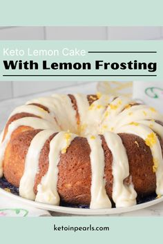 Gluten free and low carb, this keto lemon cake is light, bright, and cheerful. Keto lemon pound cake is great for Easter, showers, or afternoon coffee. #dessert #cake #keto #ketodessert Easy No Bake Cheesecake, Keto Cheesecake, Low Carb Desserts, Low Carb Recipes, Keto Birthday Cake, Cake Recipes, Dessert Recipes, Lemon Frosting, Cream Cheese Pound Cake