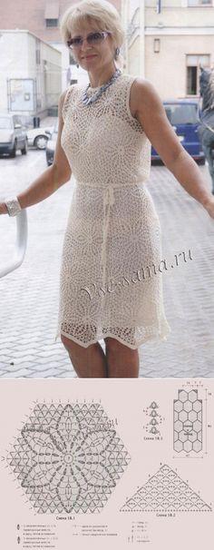 Платье круглыми мотивами связанное крючком