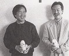 Found a rare picture featuring Shouzou Kaga and Hironobu Sakaguchi the creator of Final Fantasy clutching Mog and Chocobo plushies