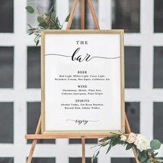 Customized wedding bar menu, the perfect decor at the wedding reception. #weddingdecoration