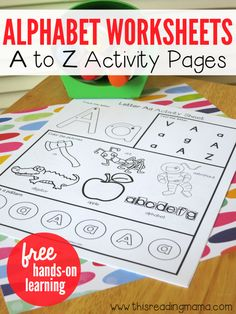 Alphabet Worksheets Activity Pages from A to Z is part of Alphabet preschool - These free alphabet worksheets are handson and engaging for young children Kids practice upper and lowercase letters, letter sounds, and making patterns Preschool Literacy, Preschool Letters, Learning Letters, Kindergarten Letter Activities, Preschool Letter Worksheets, Free Printables Preschool, Free Printable Alphabet Worksheets, Teaching Letter Sounds, Preschool Calendar