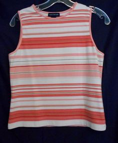 Ann Taylor Peach White Green Tank Top Size S Cotton Blend Bound Neck & Sleeves #AnnTaylor #TankCami #Career