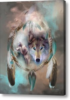 Limited Time Promotion: Wolf - Dreams Of Peace Stretched Canvas Print