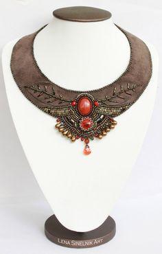 Embroidered Necklace Beadwork jewelry Boho by LenaSinelnikArt