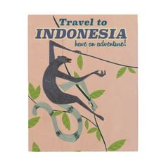 Travel to Indonesia monkey vacation vintage poster Wood Wall Art
