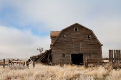 barn, windmill, blue skies