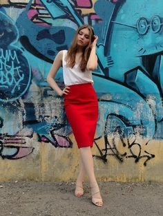 Get this look: http://lb.nu/look/8706145  More looks by Dasha: http://lb.nu/dkqueen  Items in this look:  Эконика Sandals, Hand Made Red Skirt, Hand Made Silk Top   #tryingtobeinstafamous #russia #moscow #summer #nude #red #white #silk
